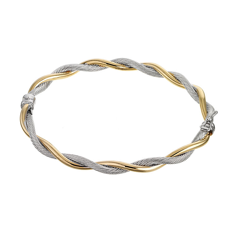 9ct Two Tone Hinged Bangle - Product number 6144659