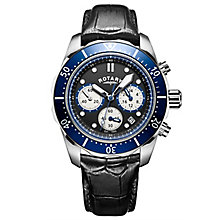 Rotary Men's Sports Chronograph Black Leather Strap Watch - Product number 6144977