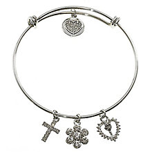 Cailin Stainless Steel Chalice & Charms Expander Bangle - Product number 6146988
