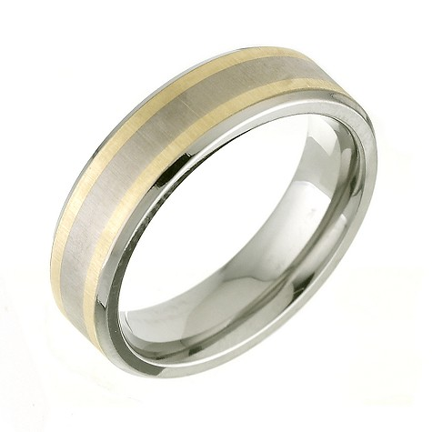 Titanium and 9ct gold signet ring