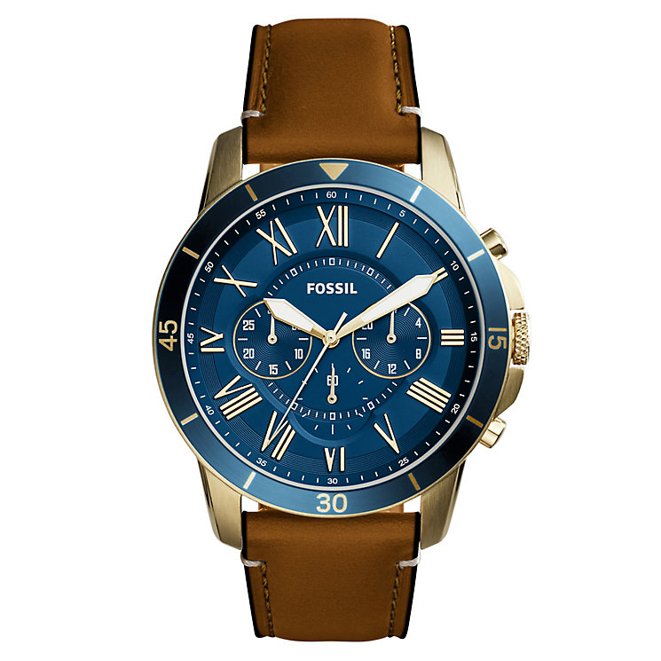 Fossil Grant Men's Gold Tone Strap Watch - Product number 6153143