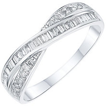 18ct White Gold 0.25ct Diamond Crossover Wedding Band - Product number 6157580