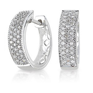 9ct white gold quarter carat diamond earrings - Product number 6158552