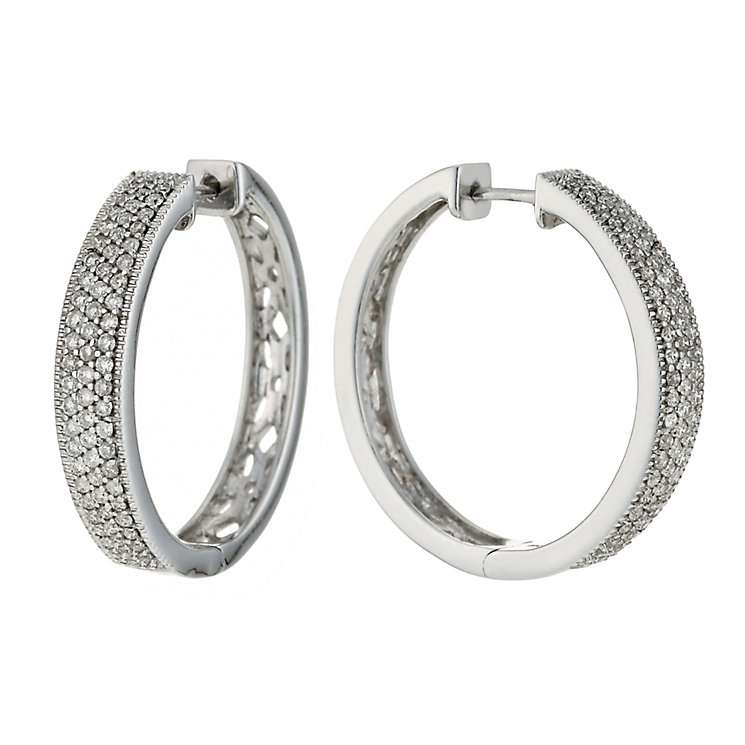 9ct white gold half carat diamond earrings - Product number 6158560
