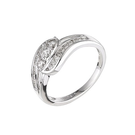 18ct white gold half carat diamond three stone ring
