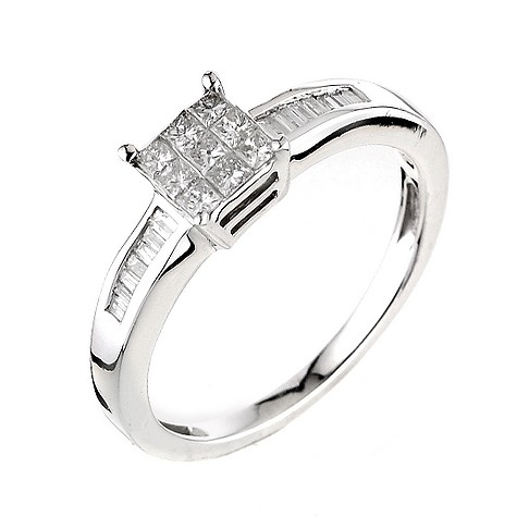 18ct white gold third carat cluster ring