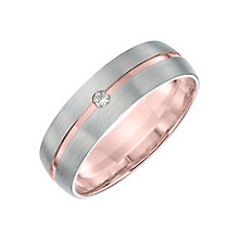 9ct White and Rose Gold Diamond 6mm Wedding Band - Product number 6162649