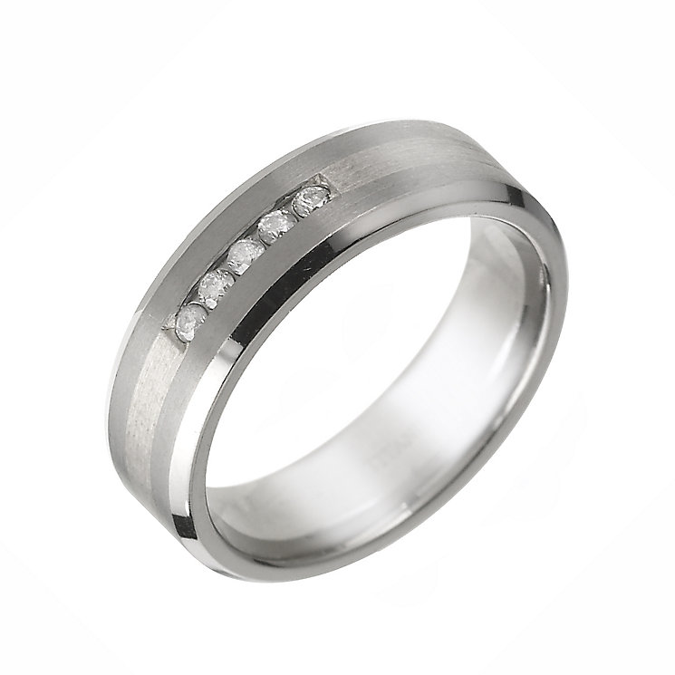 Titanium and sterling silver diamond ring - Product number 6162851