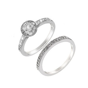 18ct white gold with carat diamonds cluster bridal set - Product number 6163262