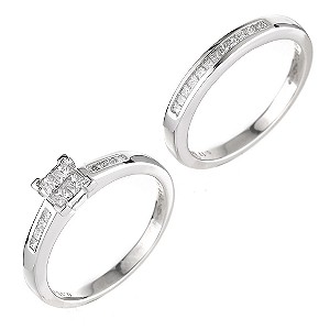 Platinum half carat diamond bridal set - Product number 6163793