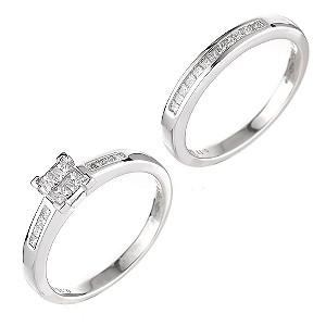 Platinum half carat diamond bridal set - Product number 6163793
