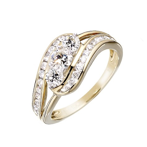 18ct gold total one carat diamond ring
