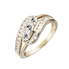 18ct gold one carat diamond three stone ring - Product number 6164870