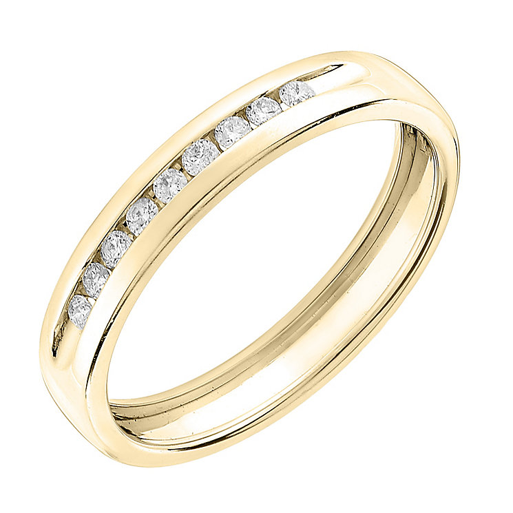 9ct Yellow Gold 0.10ct Diamond Wedding Band - Product number 6167314