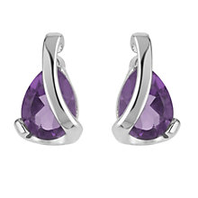 9ct white gold amethyst stud earrings - Product number 6167470