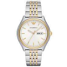 armani watches emporio armani designer watches ernest jones emporio armani men s two colour bracelet watch product number 6171605
