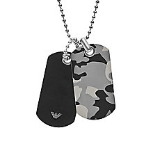Emporio Armani Men's stainless Steel Camo Dog Tag Necklace - Product number 6175295