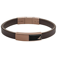 Emporio Armani Men's Leather Rose Gold Tone Bracelet - Product number 6175309