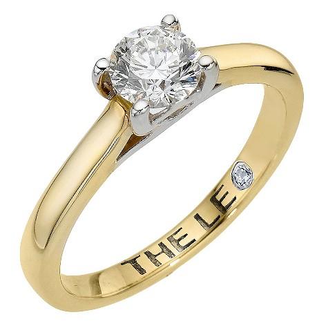 Leo 18ct yellow gold 66pt certified diamond ring
