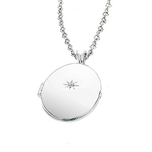 Hot Diamond Sterling Silver Oval Locket Pendant