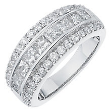 18ct white gold 2ct round and princess cut diamond band - Product number 6181651