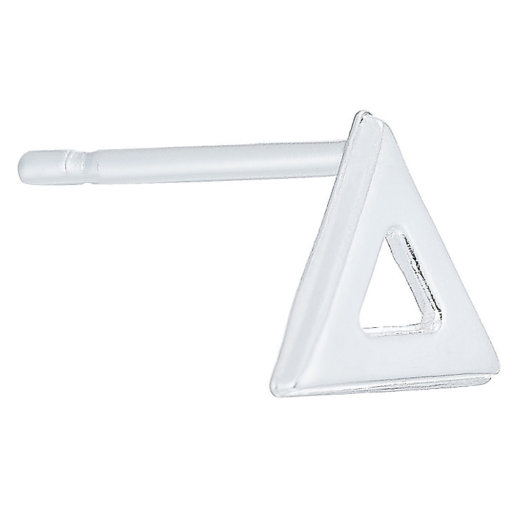 Sterling Silver Plain Open Triangle Single Stud Earring - Product number 6182208