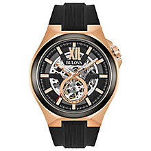 Bulova Gent's Rose Gold Black Strap Automatic Watch - Product number 6182607
