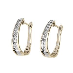 9ct gold half carat diamond hoop earrings - Product number 6183018