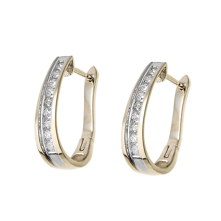 9ct gold half carat diamond hoop earrings - Product number 6183018