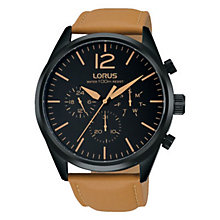 Lorus Men's Black Mulit Dial Leather Strap Dress Watch - Product number 6183441