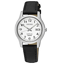 Seiko Sapphire Ladies' Black Leather Strap Watch - Product number 6187846