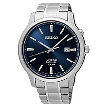 Seiko Men's Kinetic Blue Dial Stainless Steel Bracelet Watch - Product number 6187927