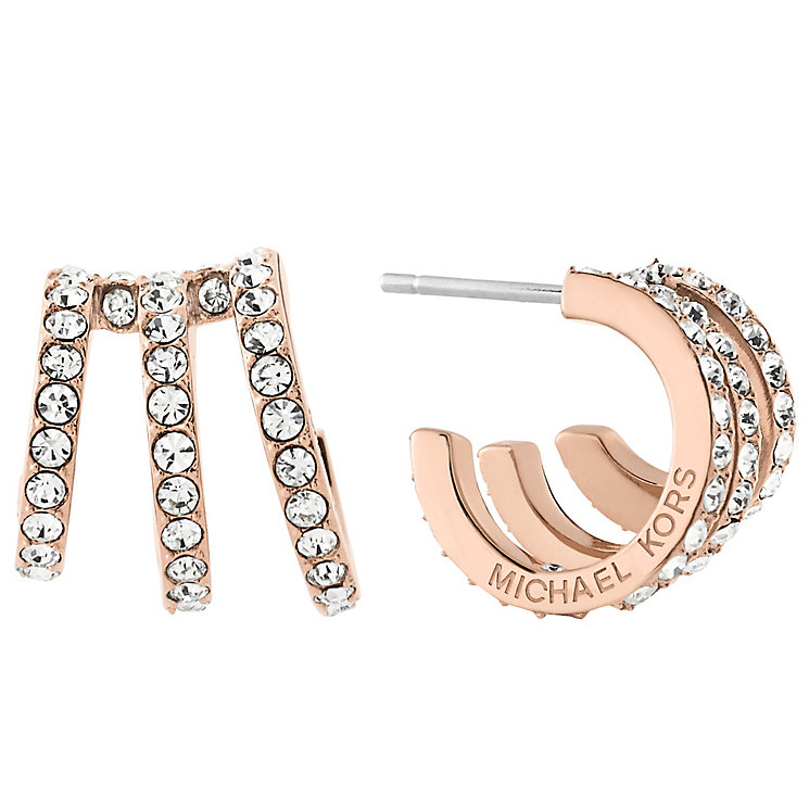 Michael Kors Ladies Rose Gold Tone Stone Set Earrings - Product number 6188257