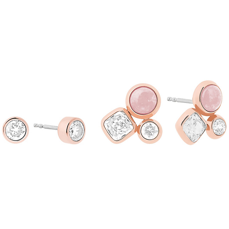 Michael Kors Rose Gold Tone Rose Quartz Stud Earring Set - Product number 6188273