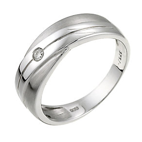 9ct White Gold Diamond Crossover Ring - Product number 6191029
