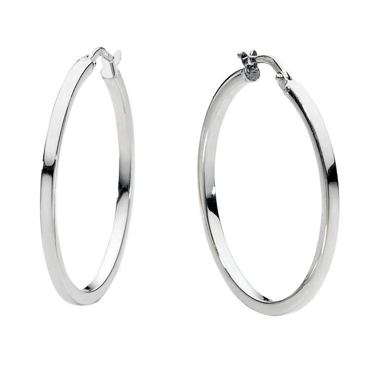 9ct white gold hoop earrings - Product number 6191819