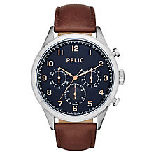 Relic Henry Men's Navy Dial Brown Leather Strap Watch - Product number 6193544