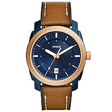 Fossil Men's Blue Dial Brown Leather Strap Watch - Product number 6193625