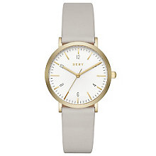 DKNY Ladies' White Dial Grey Leather Strap Watch - Product number 6193730