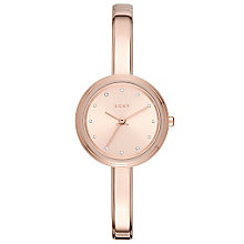 DKNY Ladies' Rose Tone Dial Rose Gold-Plated Bangle Watch - Product number 6193862