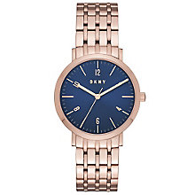 DNKY Ladies' Blue Dial Rose Gold-Plated Bracelet Watch - Product number 6193900