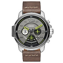 Diesel Stainless Steel Silver Dial Grey Leather Strap Watch - Product number 6193978