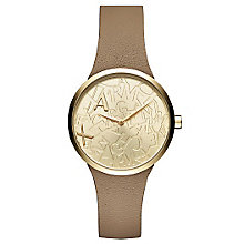Armani Exchange Gold-Plated Nude Leather Strap Watch - Product number 6194001
