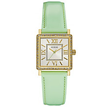 Guess Ladies' Stone Set Green Leather Strap Watch - Product number 6194877