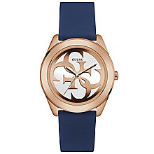 Guess Ladies' White Dial Blue Silicone Strap Watch - Product number 6194885