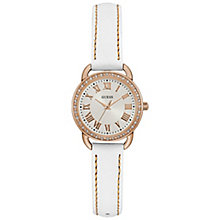Guess Ladies' Rose Gold-Plated White Leather Strap Watch - Product number 6194974