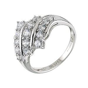 9ct White Gold Cubic Zirconia Cluster Ring