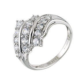 9ct White Gold Cubic Zirconia Cluster Ring - Product number 6196020