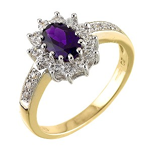 9ct Yellow Gold Cubic Zirconia Amethyst Dress Ring