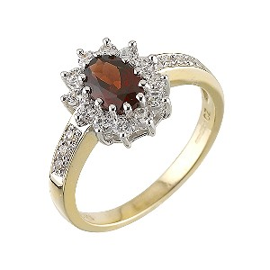 9ct Gold Garnet And Cubic Zirconia Cluster Ring